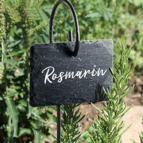Homemaxs Plant Labels, 10pcs Garden Markers Signs Weatherproof Reusable Natural Slate Hanging Tags on Metal Hanger Rod Stakes Garden Labels for Flower Bed, Pots, Planters(10x7cm)