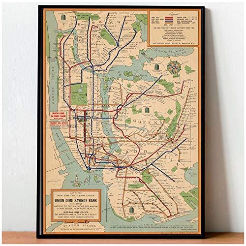 MULMF Vintage Poster Wall Art Metro Kaarten Canvas Schilderen New York City Posters en Prints Stijl Muurfoto's voor Woonkamer- 50X70Cm Geen Frame