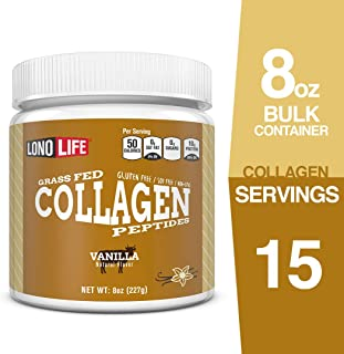 LonoLife Vanilla Flavored Collagen Peptides with 10g Protein, 8-Ounce Bulk Container