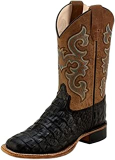 Old West Kids Boots Boys Kids Horn Back Gator/Tan Fry Cowboy Boots 11.5 M US Little Kid Black
