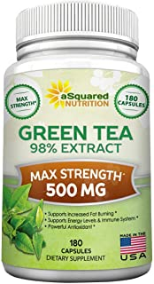 Green Tea Extract Supplement with EGCG - 180 Capsules - Max Potency Green Tea Fat Burner 500 mg Pills for Weight Loss, Boo...