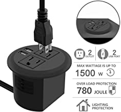 Desktop Power Grommet with USB,Recessed Power Socket with 2 AC Outlets and 2 USB Charging Ports. Desk Grommet Outlet 3in Hole,for Kitchen Table/Conference Room Outlet