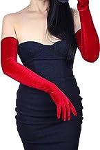 DooWay Women Long Velvet Gloves Opera Length Costume Evening Banquet Stretch 24 inches Adult Size