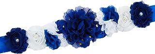 Pregnant Sash Maternity Sash Belt Girls Belt with Flowers for Baby Shower Dress Bridal Wedding Birthday Party Princess Dre...