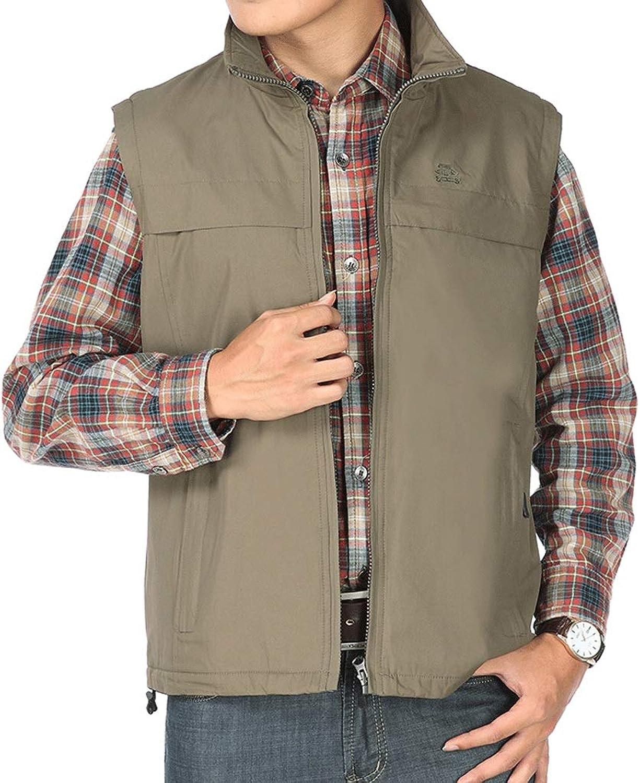 Pocket Vest Men's Vest Spring and Autumn MiddleAged Outdoor Vest Casual Sports Vest Stand Collar and Velvet Vest (color   Khaki, Size   3XL)