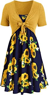KCatsy Sunflower Printed Women Two-Piece Dress Suit Spaghetti Strap Mesh Flare Sleeve