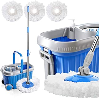 Masthome Spin Mop and Bucket System with Wheels & 3 Microfiber Mop Heads 8L Stainless Steel Mop Bucket with Detergent Dispenser