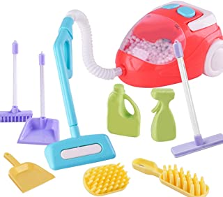 yeesport Kids Vacuum Cleaner Toy Set Mini House Cleaning Toy Pretend Play Toy with Light Kids Cleaning Play Set for Toddle...
