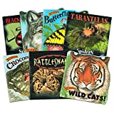 Know-It-All Educational Nature Books for Kids Toddlers -- Set of 7 Books About Wild Animals (Sharks, Spiders, Wolves, Wild Cats, Crocodiles and More)