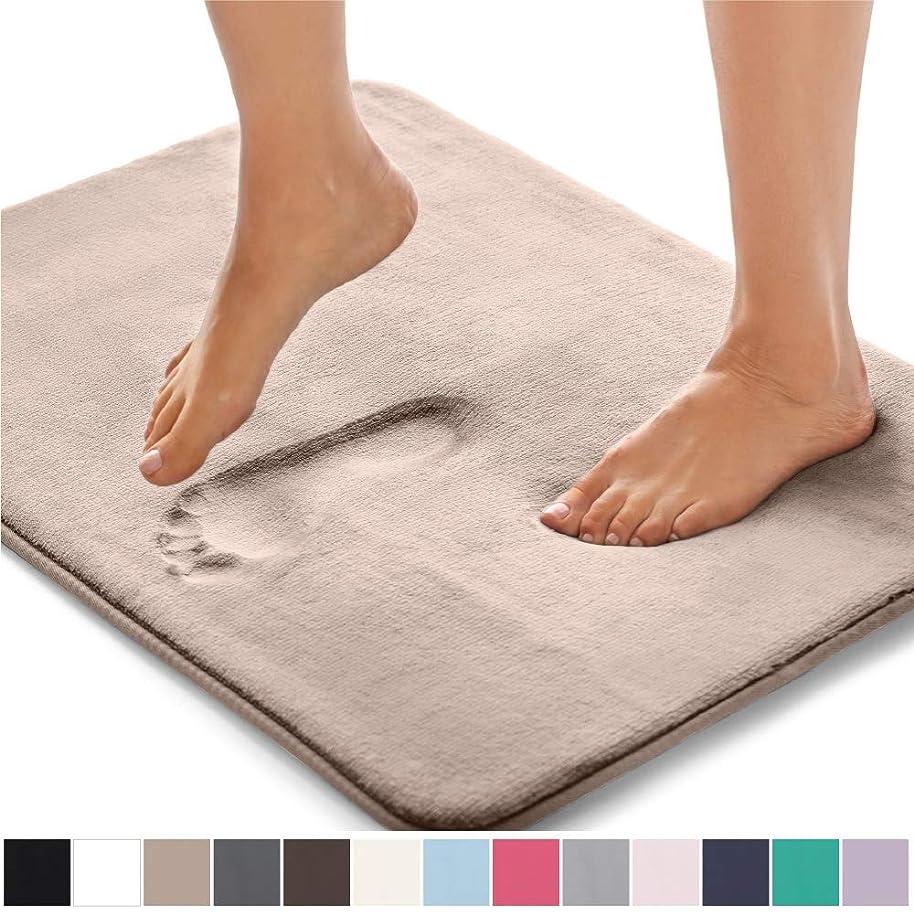 Gorilla Grip Original Thick Memory Foam Bath Rug (30x20) Cushioned Soft Floor Mats, Absorbent Kids Bathroom Mat Rugs Rugs, Machine Wash + Dry, Luxury Plush Comfortable Carpet for Bath Room (Beige)