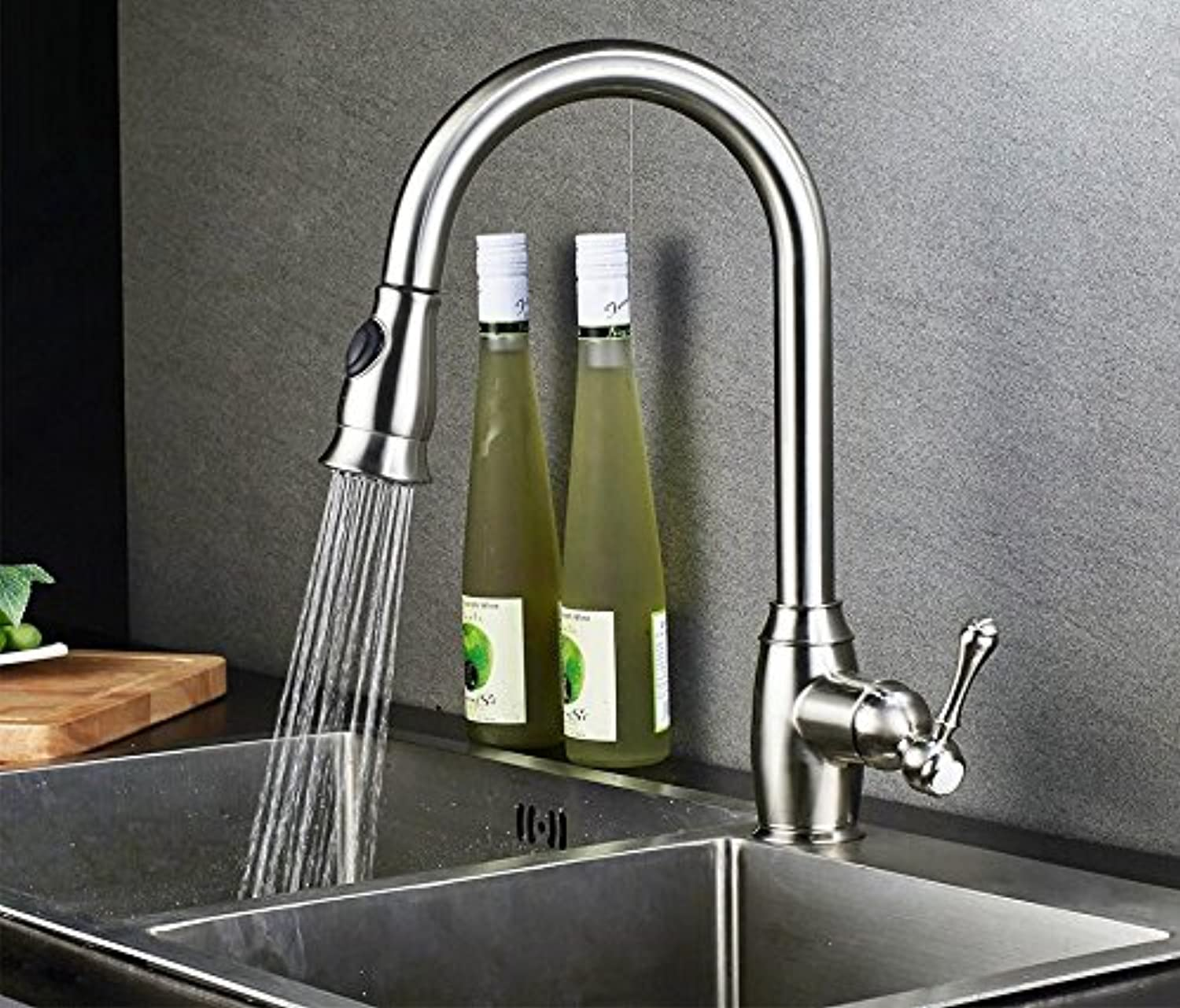 CZOOR Kitchen Faucets Nickel Brushed Single Handle Spring Pull Out Kitchen Tap 360 redate Swivel Sink Mixer Tap Hot Cold