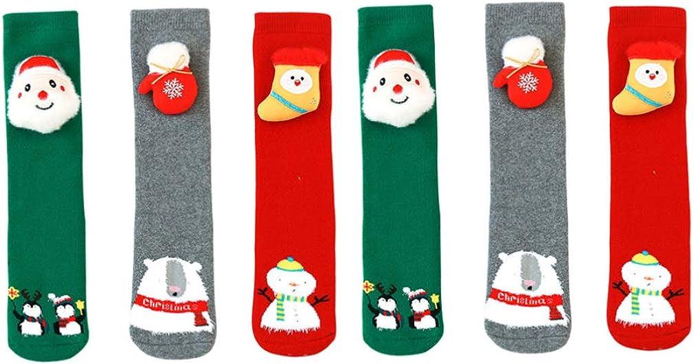 Happyyami 3 Pairs Kids Christmas Stockings Winter Middle Tube Warm Socks Xmas Snowman Santa Claus Bear Penguin Socks for 1 to 8 Years Old 30x7cm