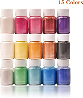 Mica Powder- Natural Powder Pigments- Epoxy Resin Dye- for DIY Slime, Adhesive Pigments, Bath Bomb Dyes, Soap Making, Etc. (15 Colors 10g/0.35oz Each)