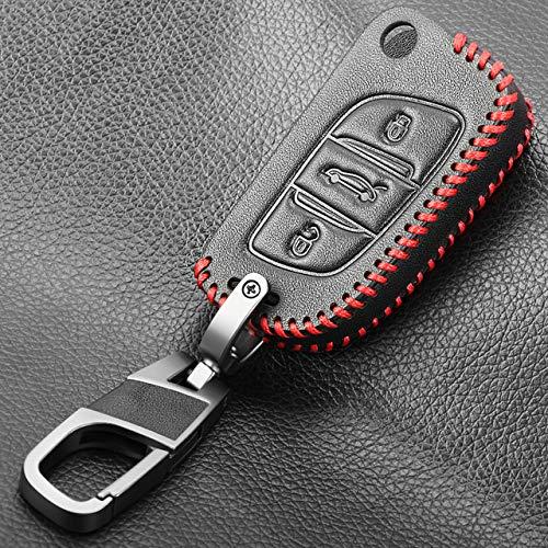 PLUIEX Protector de Llave de Coche Cubierta DE Cuero DE 3 Botones para Citroen C1 C2 C3 C4 C5 DS3 DS4 DS5 DS6 Coche Flip Remote Key Shell Blank para Peugeot, línea roja