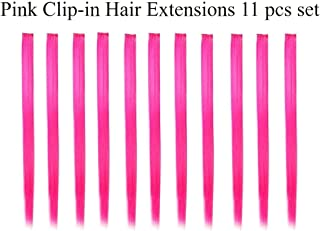 Beaute Galleria Bundle 11 Pieces Single Color 21 Inches Straight Party Highlights Clip In Synthetic Hair Extensions Cosplay Comic Con Halloween Costume (Pink)