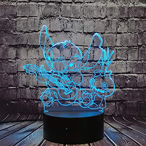 Jinlycoo Lilo Stitch Lámpara de mesa para tocar la guitarra con figura de peluche de dibujos animados 3D con 7 colores para decoración de noche para dormitorio de niña y dormitorio con lava