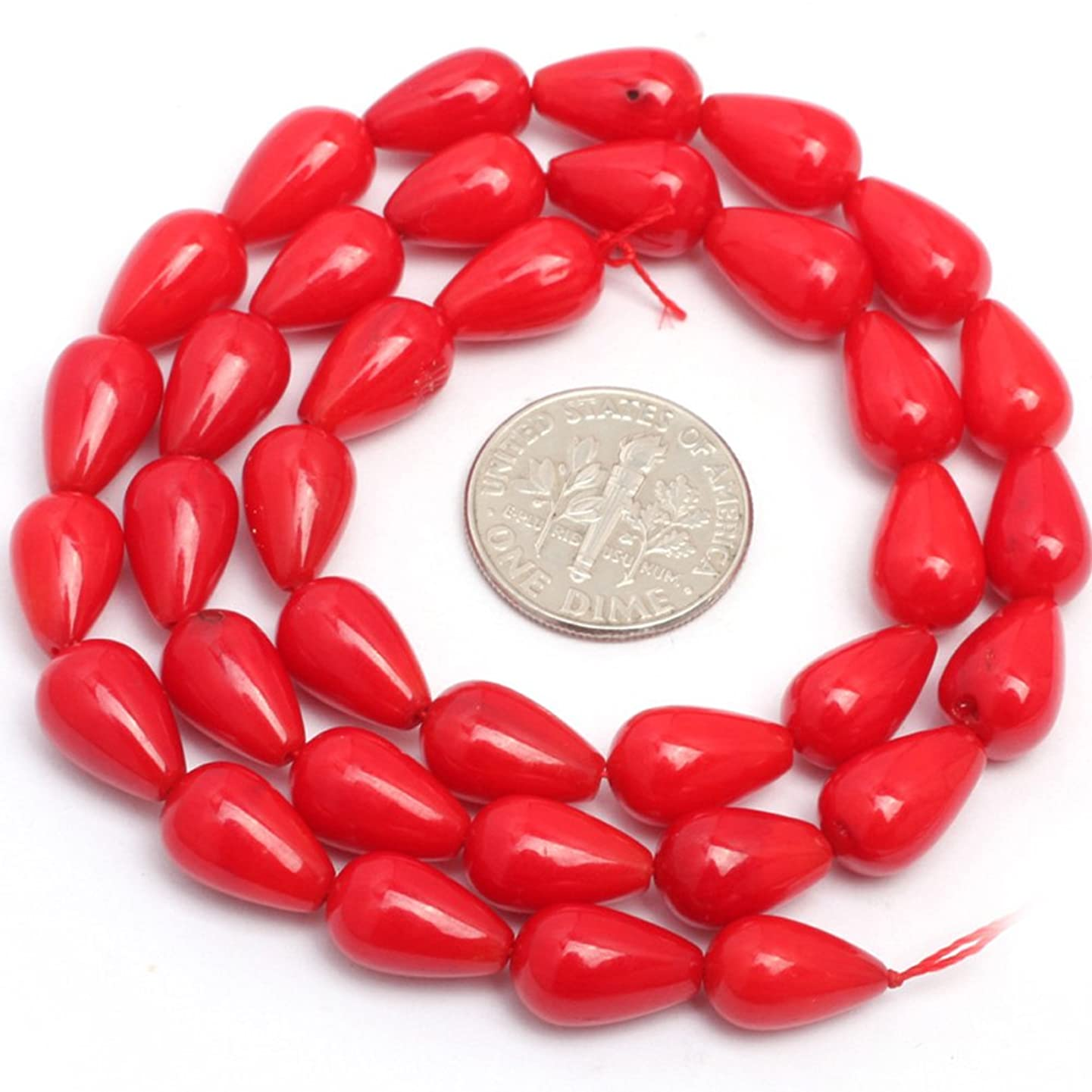 JOE FOREMAN 7x12mm Red Coral Semi Precious Gemstone Drop Loose Beads for Jewelry Making DIY Handmade Craft Supplies 15