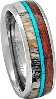PCH Jewelers Deer Antler Ring Tungsten with Turquoise and Koa Wood 8mm Band