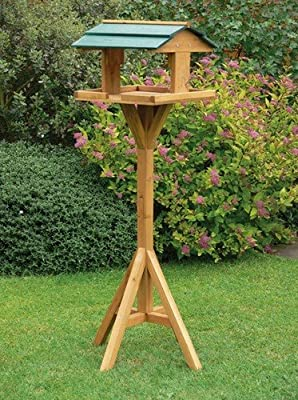 Traditional Wooden Bird Table Feeder Feeding Station Free Standing by OnlineDiscountStore