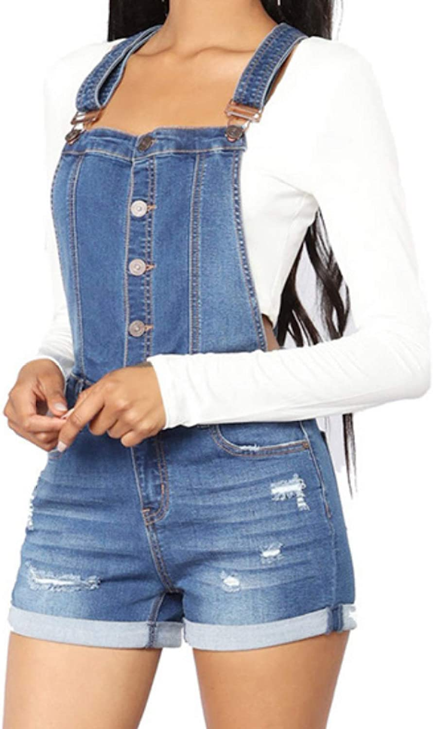Zestion Women Denim Shorts Bib Trousers Ripped Holes Distressed Washed Double-Pocket