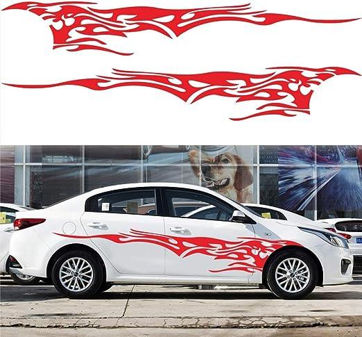 Frfjy Auto Außen Aufkleber Racing Streifen Vinyl Sticker Auto Seite Tür Abdeckung Flamme Muster Zug Blumen Aufkleber Rot Küche Haushalt