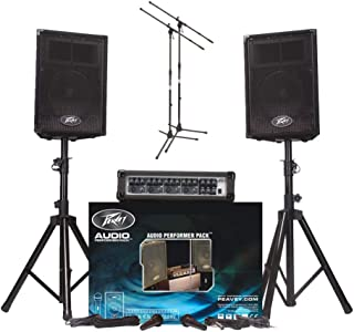 Peavey Audio Performer Pack PA System with Mixer, 2 Mics, 2 XLR Cables, 2 Speaker Stands and 2 Mic Stands