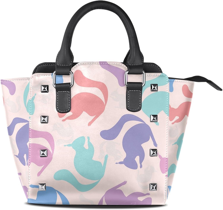 Sunlome colorful Squirrels Print Handbags Women's PU Leather Top-Handle Shoulder Bags