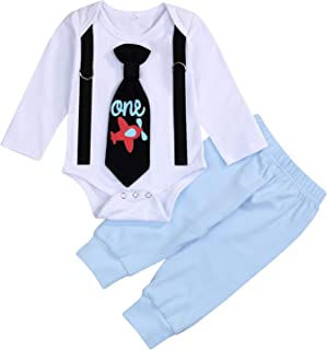 GRNSHTS Baby Boy First Birthday Clothes Airplane Toddler Tie Long Sleeve Romper Bodysuit+Long Pants Fall Winter Outfits