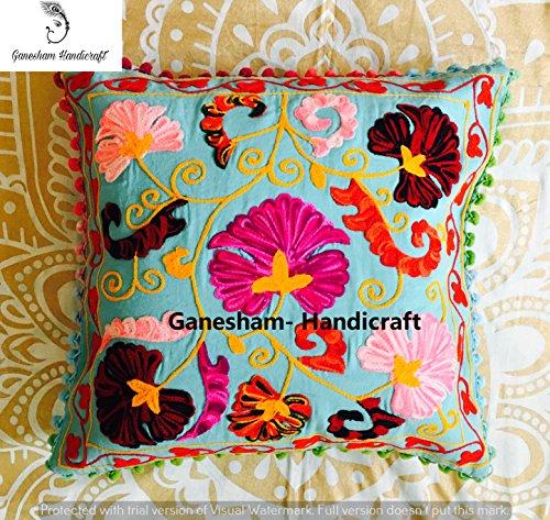 GANESHAM HANDICRAFT Funda de almohada decorativa hecha a mano con diseño de flores, para sofá, bohemio, chic, bohemio, con lentejuelas, bordado a mano, funda de cojín Suzani