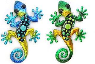 CAPRILO. Set de 2 Apliques Colgantes Pared Decorativos de Metal Lagartos Multicolores Cuadros y Adornos. Decoración Hogar....