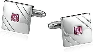 Aokarry Busess Wedding Shirt Cuff Links for Men-Stainless Steel Men's Cufflinks CZ-with Gift Box