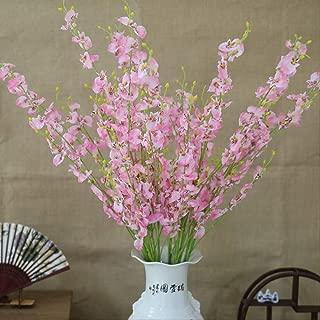 ZXL Artificial Orchid Flowers 5 Branch Silk Oncidium Hybridum Dancing-Doll Orchid for Home Wedding Garden Decor 6 Pcs A09-4