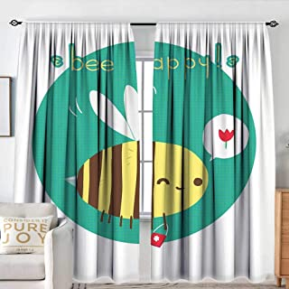 NUOMANAN White Curtains Queen Bee,Winking Bumblebee Cartoon Doodle with Bee Happy Quote Circle Abstract Background,Multicolor,Decorative Curtains for Living Room and Bedroom 120