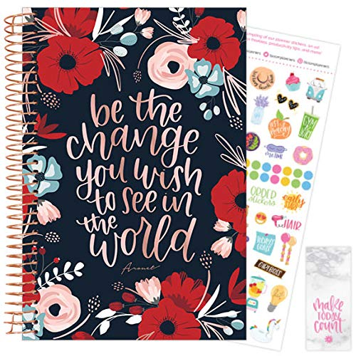 """bloom daily planners 2021 Calendar Year Day Planner January 2021 - December 2021 - 6"""" x 825"""" - WeeklyMonthly Agenda Organizer Book with Stickers Bookmark - Arouet"""