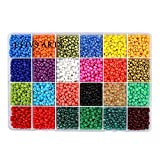 Efivs Arts Glass Seed Beads,24 Colors 6/0 4mm Small Pony Beads Multicolor Beading Beads wi...