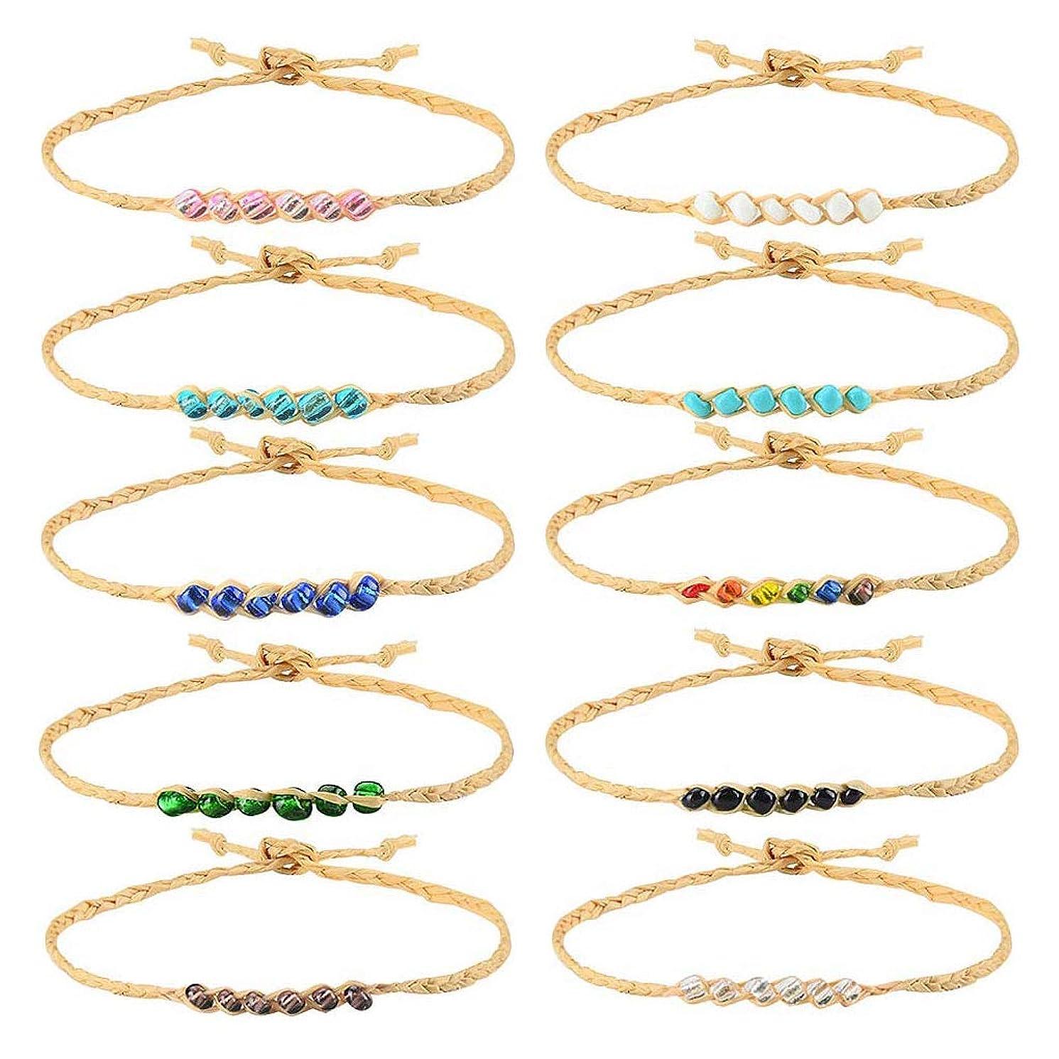 Tarsus 100% Waterproof Beaded Hemp Wish Friendship Bracelets/Anklets Set for Women Girls String Handmade Bracelets Braided Woven Adjustable Jewelry Birthday Gift 10 Pcs