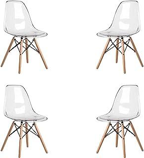 MeillAcc Lote de 4 sillas escandinavas transparentes silla de comedor silla de policarbonato silla transparente simple y conveniente (blanco)
