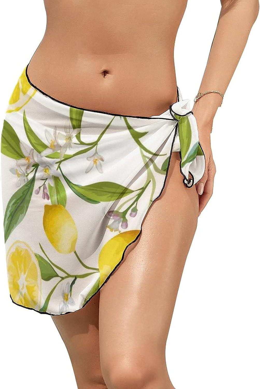 JINJUELS Women Beach Wrap Sarong Cover Up Lemon Leaves Sexy Short Sheer Bikini Wraps