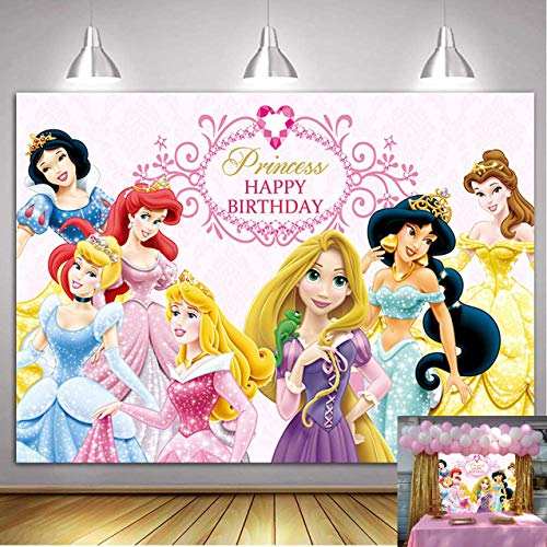 Vinyl Disney Princess Background 7x5ft Pink Baby Shower Backdrop for Girl Seamless Photography Background Princess Birthday Banner Customized Backgrounds Studio Photo Booth