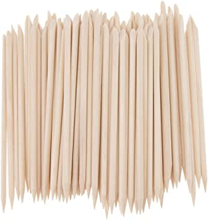 Baoblaze Multifunction Orange Wooden Sticks Kit Nail Art Cuticle Stick for Pusher Remover Manicure Nail Care Tool Kit (Nude) 100 PCS