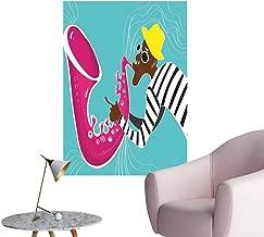 Vinyl Artwork Hippie Jazz Musician Saxoph Trumpet Vib Sound cert Pink Blue Easy to Peel Easy to Stick,16