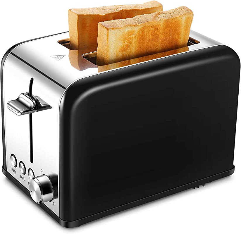 Toaster 2 Slice Small Wide Slot Black Toasters Two Slice Stainless Kitchen Toaster For Bagels Bread