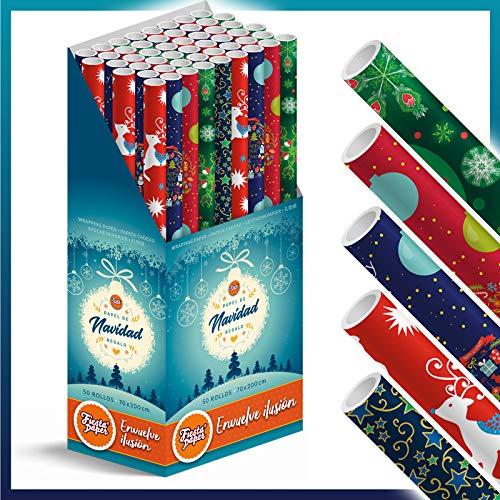 Caja-Expositor 50 Rollos grandes de Papel de Regalo NAVIDAD (5 motivos navideños) 70 cm x 200 cm (2 m). IDEAL para: Tiendas Comercios Reyes Papa Noel Fiestas Cenas Niños