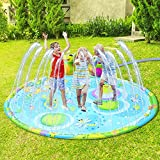 🏄►Frosch Sprinkler Matte: Design innovativo, es gibt 2 Frösche an der Seite des Brunnens. Das niedliche Frosch-Design è voller Kindlichkeit undund attraktiver für Kinder, das Aussehen wird sicherlich Kinder dazu bringen, sich in es zu verlieben. Dies...
