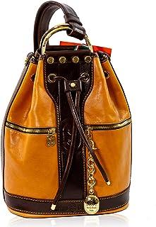 Marino Orlandi Women's Medium Handbag Italian Designer Backpack Crossbody Bag Tote Bucket Purse Genuine Glazed Leather Top Handle Satchel Convertible Sling in Classic Cognac and Cinnamon Design