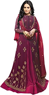 Monika Silk Mill Women's Georgette Embroidered Semi Stitched Anarkali Suit(Purple Color_8071)