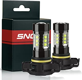 SNGL PSX24W 2504 Super Bright CREE LED DRL Fog Light bulbs - Plug-and-Play - 6000K Cool White (Pack of 2)