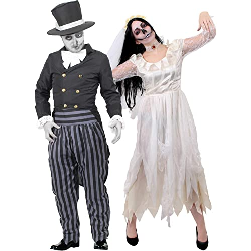 e0a89d373951 COUPLES GHOST BRIDE AND GHOST GROOM HALLOWEEN FANCY DRESS COSTUMES HIS AND  HERS GHOST ZOMBIE WEDDING