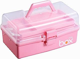 Kinsorcai جعبه نگهدارنده پلاستیکی سه لایه شفاف / جعبه دارو / جعبه کمک های اولیه خانوادگی / جعبه ابزار ، سازمان دهنده چند منظوره و جعبه ذخیره سازی قابل حمل برای صنایع دستی و لوازم آرایشی (صورتی)