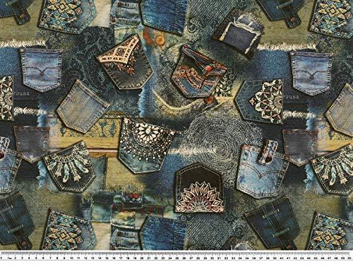 Zanderino a partire da 1 m, tessuto decorativo semilavorato, stampa digitale, borsa in jeans, blu, 140 cm di larghezza